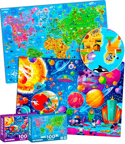 100 Pieces Jigsaw Puzzles for Kids Ages 4-8 by Quokka – Big Floor Puzzles for Toddlers 3-5 Years Old – Toys for Learning World Map and Solar System - Gift for Boys and Girl Ages 6-8-10