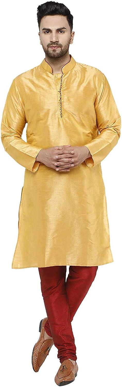 SKAVIJ Men's Tunic Art Silk Kurta Pajama Indian Wedding Suit Dress Set