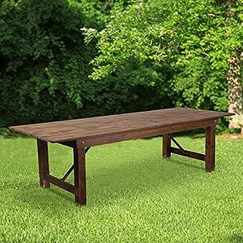 Flash Furniture HERCULES Series 9  x 40  Rectangular Antique Rustic Solid Pine Folding Farm Table