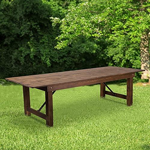 Flash Furniture HERCULES Rustic Solid Pine Folding Farm Table