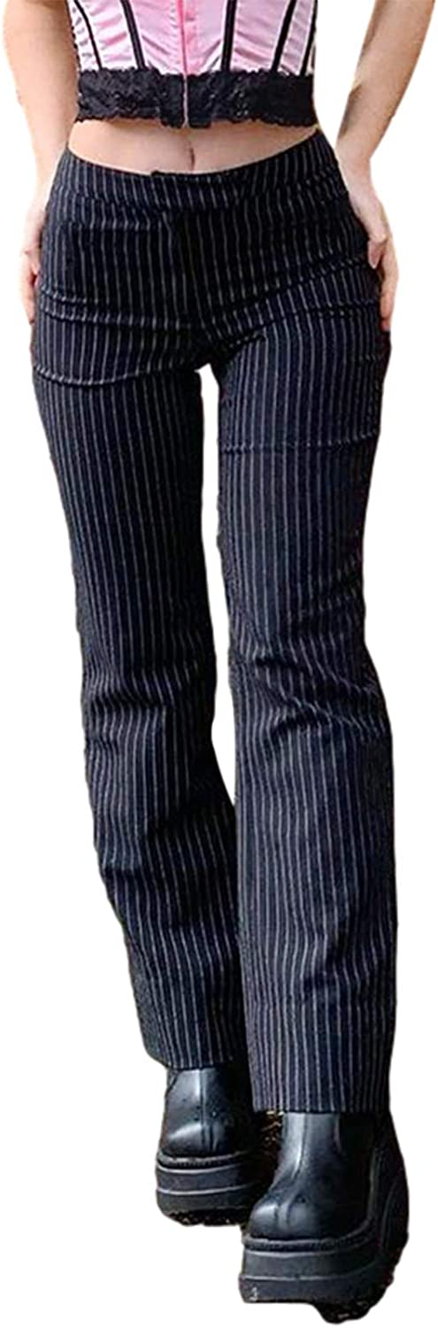 Women's Striped High Waist Suit Pant Classic Y2k Bell Bottom Office Business Casual Work Pants (Black, S)