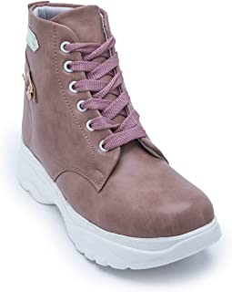 AROOM Shoes for Women's/Ladies/Females/Girls Trendy Fashionable Lightweight Comfortable, Casual Wear Lace-up Stylish Boot...