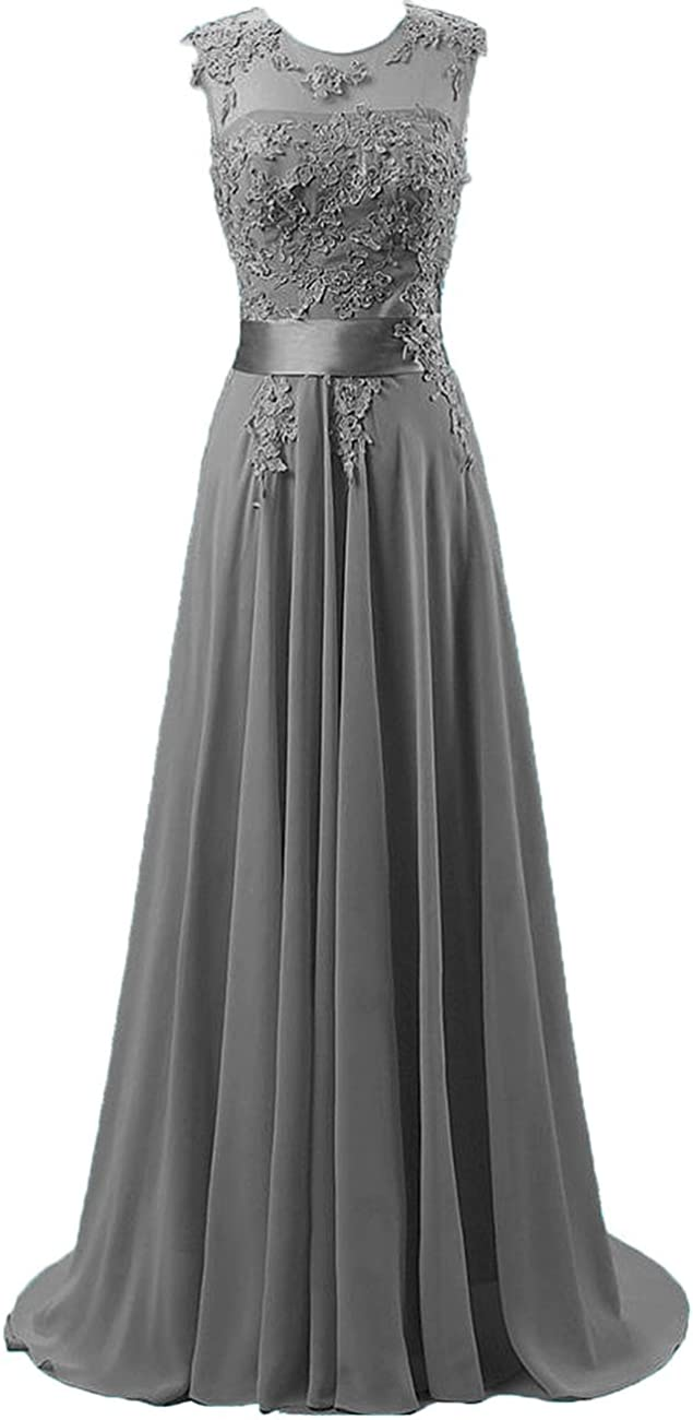 Chiffon Long Prom Dresses Lace Applique Evening Formal Gowns Wedding Bridesmaid Formal Dress