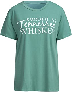 Smooth as Tennessee Whiskey T Shirt for Women Graphic Country Cowgirl Tees Letter Shirts Tops with Sayings SADUORHAPPY