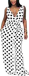 Women Summer Elegant Spaghetti Strap Sleeveless Polka Dot Print One-Piece Loose Wide Leg Pants Jumpsuits Romper