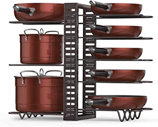 Pan Rack Organizer Adjustable, Heavy Duty 8 Tiers Cookware Bakeware Rack Holder Kitchen Cabinet Counter Pantry Pot Storage Shelf Organizer