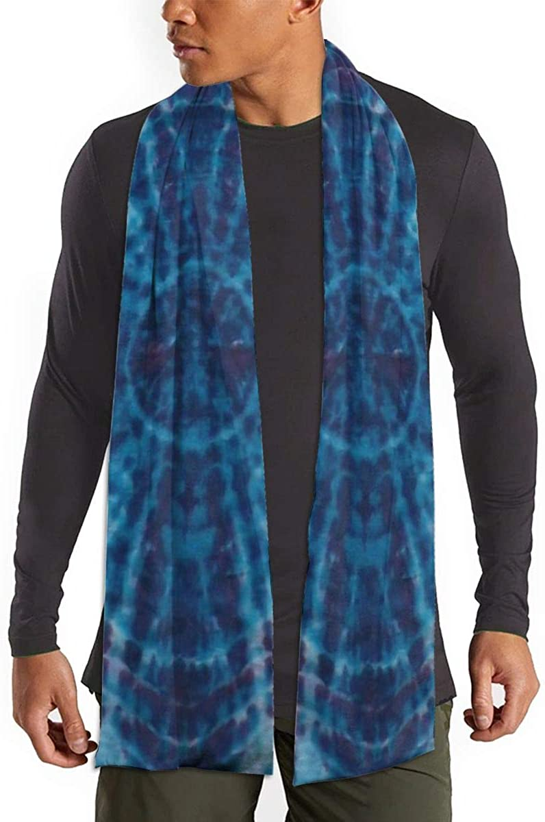 Fall Winter Scarf for Womens Classic Warm Soft Thick Scarves(Blue Tie Dye)