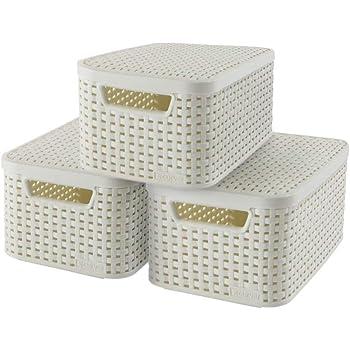 Curver 240586 - Set de 3 cestas Style con tapa, tamaño S, 7 L, color blanco: Amazon.es: Hogar