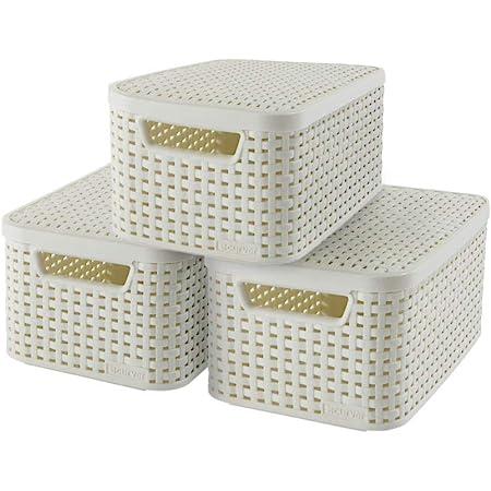 CURVER | Lot 3 boîtes de rangement STYLE S + couvercles, Blanc, Plastique