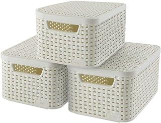 CURVER   Lot 3 boîtes de rangement STYLE S + couvercles, Blanc, Plastique