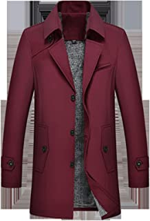 ZEIYUQI Men's Winter Warm Trench Coat,casual Solid Color Mid-length Lapel Coat,soft And Breathable,suitable For Travel And...
