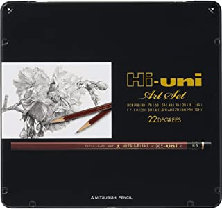 Uni Hi-Uni Wooden Pencil Art Set - 10B to 10H - Box of 22 (HUAS)
