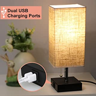Focondot USB Table Lamp, Dual 2.1A USB Charging Port with Black Base and Fabric Shade, Nightstand Bedside Lamps Ideal for Bedroom, Living Room, Office