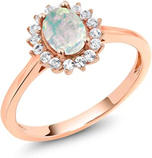 Gem Stone King 10K Rose Gold Cabochon White Simulated Opal and White Created Sapphire Women's Ring 0.87 Ctw (Available 5,6,7,8,9)