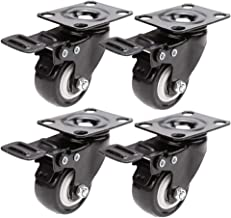 Material Handling Products 4Pcs 2 Inch Heavy Duty Swivel Caster Wheels with Safety Dual Locking and Polyurethane Foam No N...