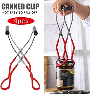 Canning Jar Lifter Tongs Wide Mouth Clip Stainless Steel Jar Lifter with Grip Handle fo Secure Gripning (Red, 4PCS)