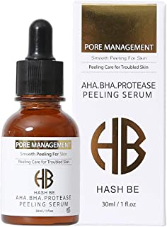HASH BE AHA BHA Serum with PROTEASE and Intensive Skin Peeling Care Moisturing for Troubled Skin Remove Keratin Sebum Make-up residue Return to Smooth Skin Condition 30ml/1fl.oz