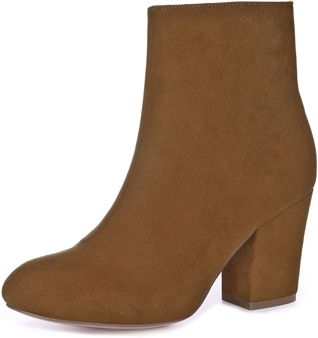Allegra K Women's low-pricing Round Sales for sale Toe Ankle Heel Chunky Boots