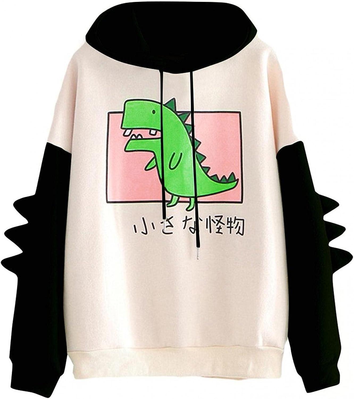 ONHUON Kawai Hoodie Pink,Cute Dinosaur Hoodies for Women Sweatshirts Daily Casual Long Sleeve Tunic Tops Loose Comfy Hoodie