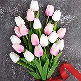 Whaline - Ramo de tulipanes artificiales, 20 unidades, material de látex, para el hogar, jardín, boda, fiesta, decoración floral (blanco y rosa pálido)