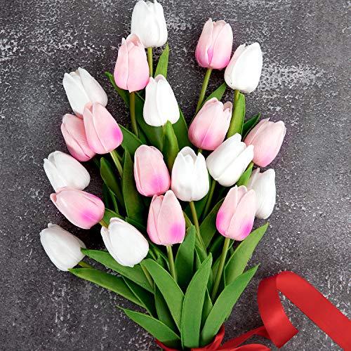 Whaline Künstliche Tulpen, 20 Stück, Latex-Material, für Zuhause, Garten, Hochzeit, Party, Blumendekor (weiß und hellrosa)