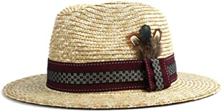 Sun Hat for men and women Beach Sun Hat Women's Men's Sun Hat Straw Panama Plaid Decoration Feather Fashion Beach Sun Hat