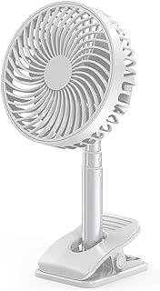 SQIAO 扇風機 USB充電式 2020年新開発 卓上扇風機 強風 静音 小型 クリップ 壁掛け ファン 風量4段階調節 低騒音 省エネ 角度調整可能 USBファン 長時間連...