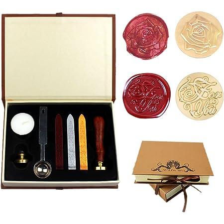 Dsaren Sceaux pour Cachet Rétro Kit de Cire Timbre Lettre avec 2 Laiton Cachet Sceau Cuillère à Cire Coffret Cadeau (Pour vous + Rose)