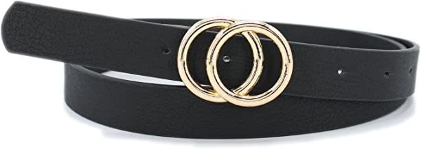 "Women's 7/8""(2.2cm) Width Matt Soft Faux Leather Belt with Double O-Ring Buckle"