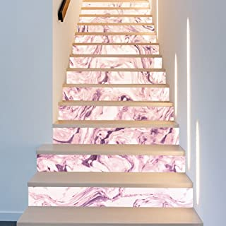 XiYunHan Stairs self-Adhesive Wallpaper Marble Pattern Light Purple Home Decoration 3D Detachable DIY Steps Stickers Modern HD Waterproof Stairs Wallpaper Buy Three get one Free