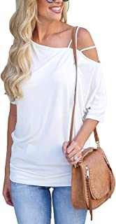 Womens One Cold Shoulder Strappy Short Sleeve Tunic T Shirt Tops