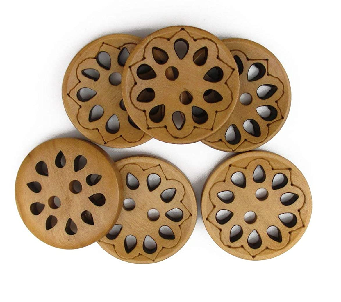 "ALL in ONE 50pcs Light Brown 2 Hole Hollow Drop Shape Sewing Wood Buttons 23mm (7/8"") cxs343227426391"