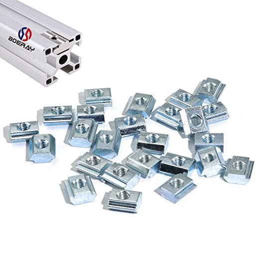 Binzzo T Nuts Tee Sliding Slot Nuts 30 Series M8 Threaded Slide in Pre-Assembly for 30x30 Aluminum Extrusions Frame with Profile 3030 Sereis 8mm Slot for CNC Router Build Rail 3D Printer 12Pcs