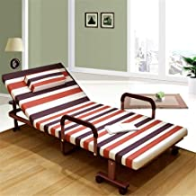 Folding Bed Single Folding Bed with Mattress Leisure Recliner Metal Frame Adjustable Design Guest Bed Outer Cover Detachab...