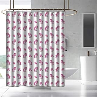 EwaskyOnline Long Shower Curtain Love Pink Hearts and Magical Pony Horse Kids Girls Design Fairytale Toy Animal Cartoon Bathroom Curtain Washable Polyester W55 x L84 Hot Pink White