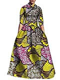 Yobecho Womens African Print Dashiki Dress Long Fit and Flare Crop Top Skirt Outfits Maxi Dress with Pockets Yellow