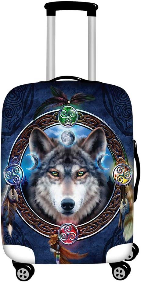 FUIBENG Novelty Fashion Boho Tribal Wolf Elastic Award Travel Lug King Printed