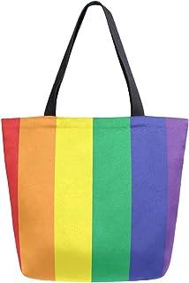 funnyy LGBT Pride Regenbogen-Canvas-Tasche für Damen, lässige Schultertasche, Strandtasche, Handtasche, große Lebensmitte...