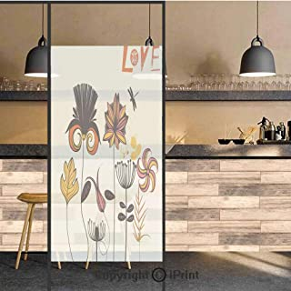 3D Decorative Privacy Window Films,Funky Featured Different Type of Flower Motif Love Mother Earth Themed Bohemian,No-Glue Self Static Cling Glass film for Home Bedroom Bathroom Kitchen Office 24×48 I