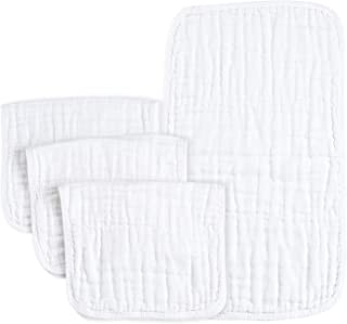 "PPOGOO Burp Cloths Extra Absorbent and Soft Large 20""x10"" 4 Pack 6 Layers 100%.."