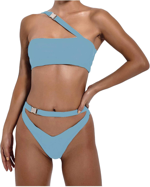 Swimsuit for Women One Shoulder Decoration Swimwear Solid Color Two-Piece Swimsuit Bikini Swimming Beachwear