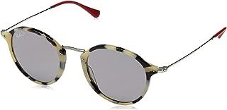 RB2447 Round Fleck Sunglasses, Beige Havana/Polarized Grey, 49 mm