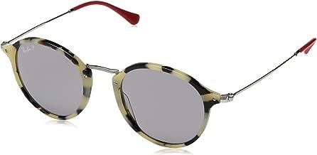 RAY-BAN RB2447 Round Fleck Sunglasses, Beige Havana/Polarized Grey, 49 mm