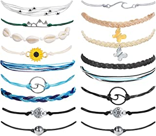 YEEZII 17 Pieces Braided Rope Bracelets Set Beach Waterproof Adjustable Friendship Shell Sunflower Anklet Bracelet for Wom...