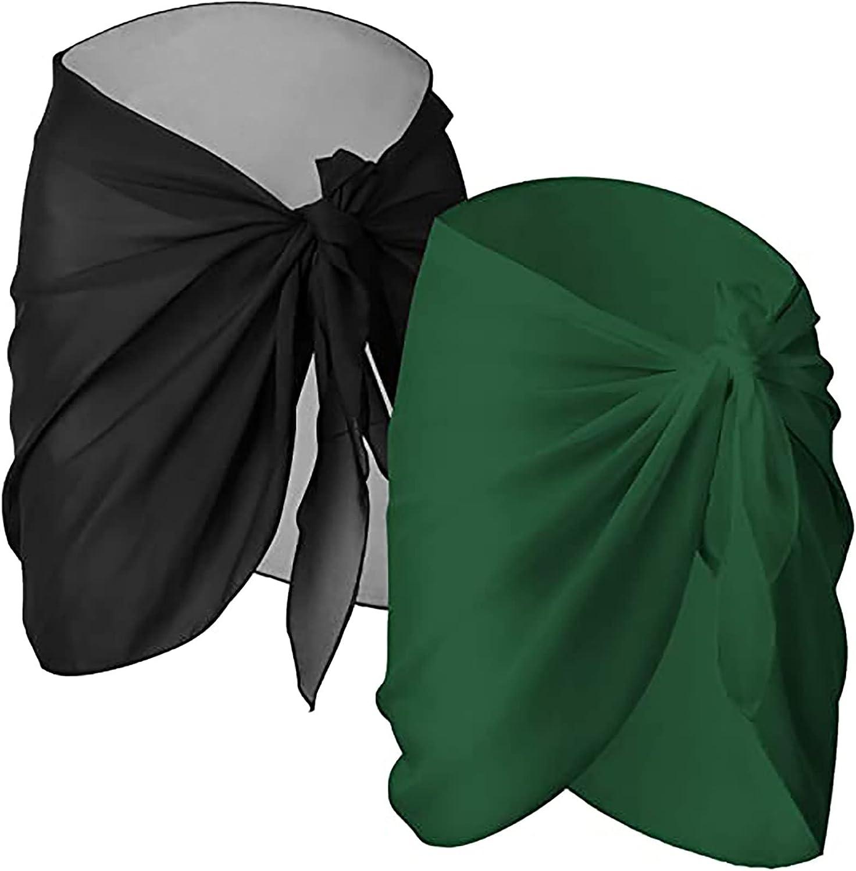 2 Pieces Wrap Skirts for Women Sheer Bikini Wrap Sarong Cover Up Chiffon Short Beach Cover Ups Swimsuit Swimwear