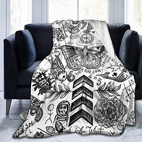"""Manta de vellón Suave One Direction Tattoos Products Hogar de vellón de Franela Manta de Tiro de Felpa Suave y cálida para Cama Sofá Sofá Oficina Camping 50""""x 60"""""""