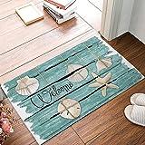 Doormat Indoor Rubber Non Slip Entrance Way Welcome Door Mat for Bathroom/Kitchen/Front Door Waterproof Absorb Area Rugs Floor Runner Carpet Shoes Scraper, Blue Wood Board Starfish Shell Welcome