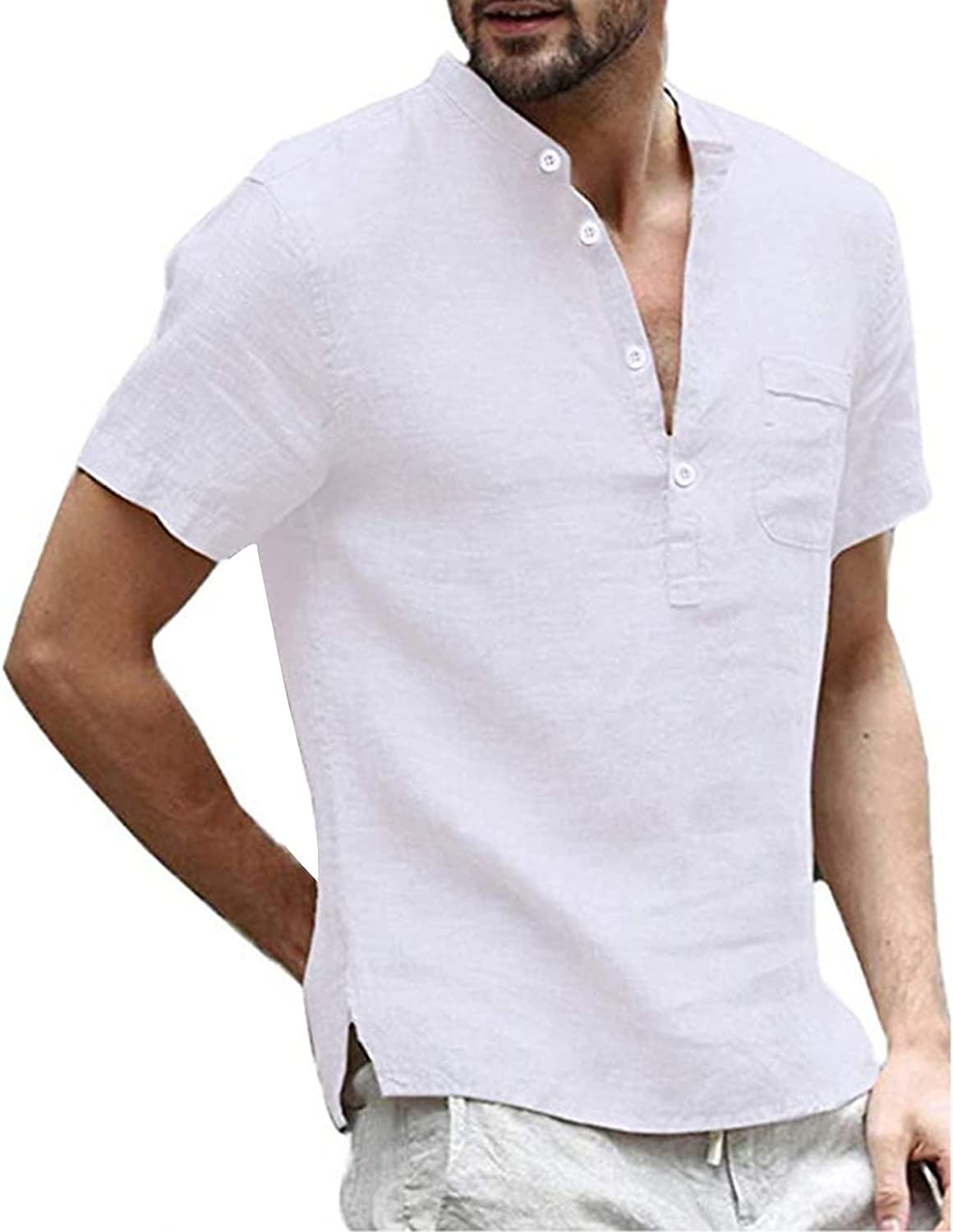 Mens Casual Cotton Linen T-Shirts Solid Color Short Sleeve Buttons Pocket Tops