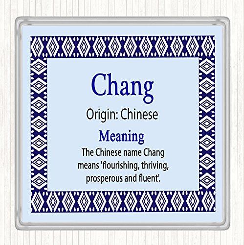 Chang Naam Betekenis Dranken Mat Coaster Blauw