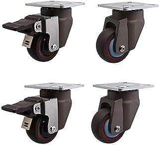 4 stks Meubelwielen Rolls 2 Inch Heavy Duty Rubber Meubels Rubber Wielwielen Rem Universele Swivel 50mm 200kg Stilte Voor ...